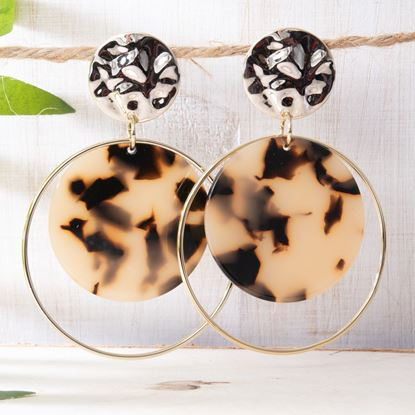 Picture of Halo Double Drop Earrings - Brown