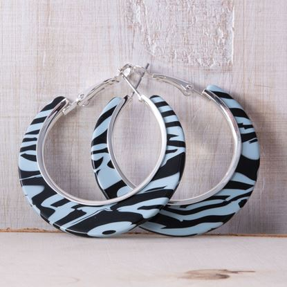Picture of Edge Hoop Earrings - Blue Zebra