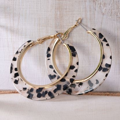Picture of Edge Hoop Earrings - Clear Leopard