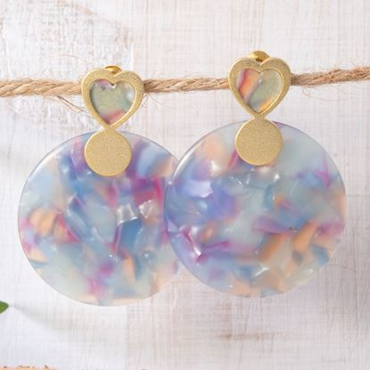 Picture of Heart Circle Drop Earrings - Aqua/Pink