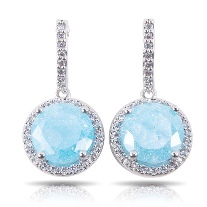 Picture of Cracked Zircon Drop Earrings - Aqua - Silver
