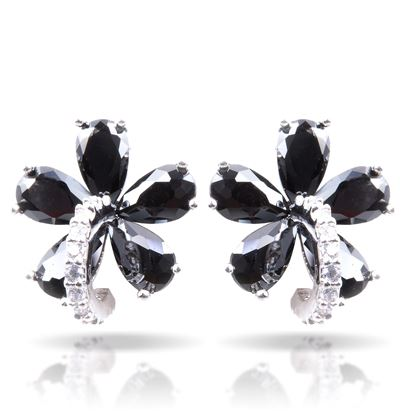 Picture of Black Flower Post Earrings - Silver