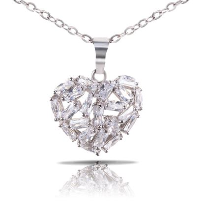 Picture of Baguette Heart Necklace - Silver