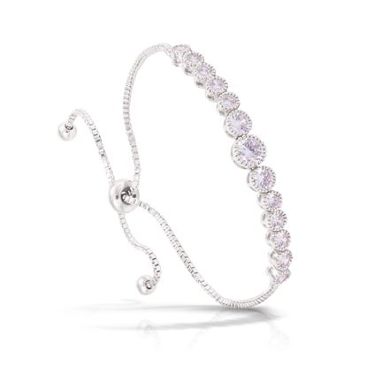 Picture of Graduated Round CZ Adjustable Bracelet - Silver
