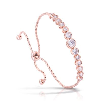 Picture of Graduated Round CZ Adjustable Bracelet - Rose Gold