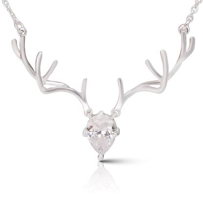 Picture of Antler Crystal Necklace - Silver