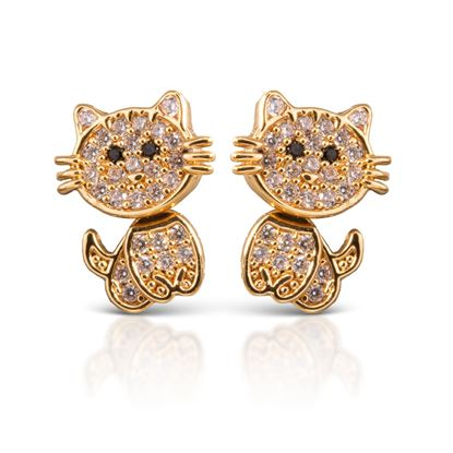Picture of Cat Earrings - Gold