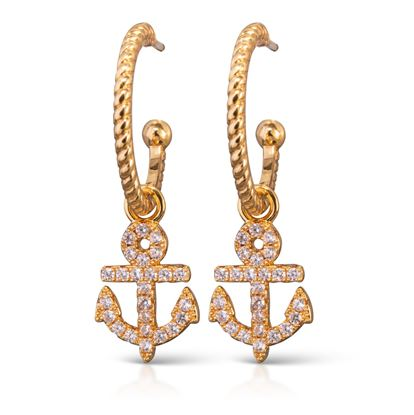 Picture of Anchor Hoop Earrings - Gold