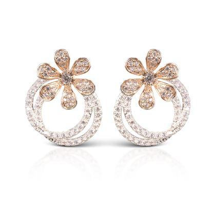 Picture of Double Hoop Flower Earrings - Silver