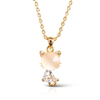 Picture of Cat Moonstone Necklace - Gold