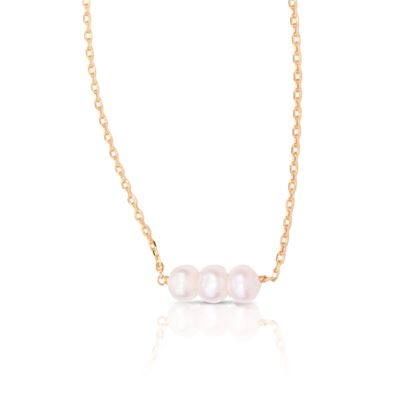Picture of 3-Pearl Row Necklace - Gold