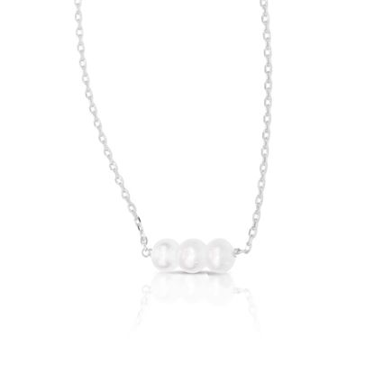 Picture of 3-Pearl Row Necklace - Silver