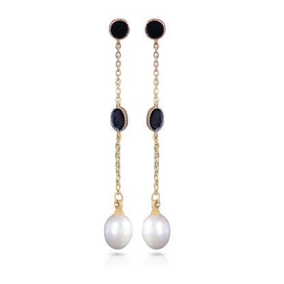 Picture of Black Enameled Drop Long Pearl Earrings - Gold