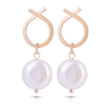 Picture of Crossed Hoop Pearl Drop Earrings - Gold