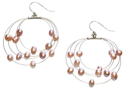 Picture of Amanda Blu Illusion Pearl Earrings on Silver Wire - Natural Lavender