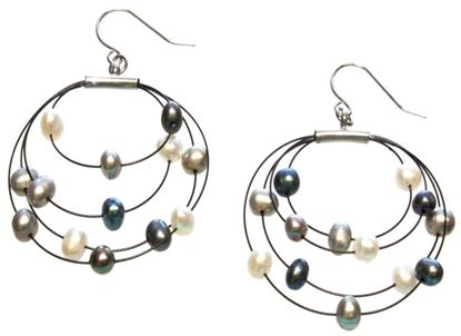 Picture of Amanda Blu Illusion Pearl Earrings on Black Wire - Starry Night