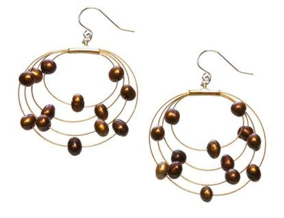 Picture of Amanda Blu Illusion Pearl Earrings on Gold Wire - Espresso
