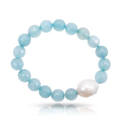 Picture of Aquamarine Baroque Pearl & Agate Stretch Bracelet