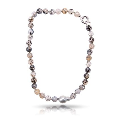 Picture of Black Baroque Pearl & Agate Necklace