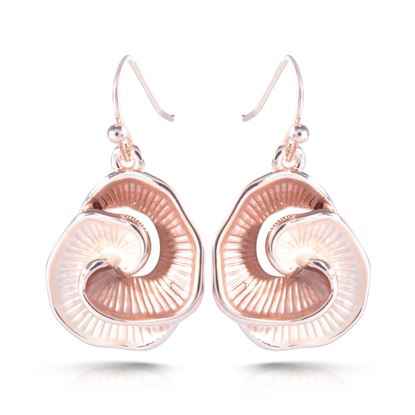 Picture of Rosegold Enameled Earrings - Linked Champagne