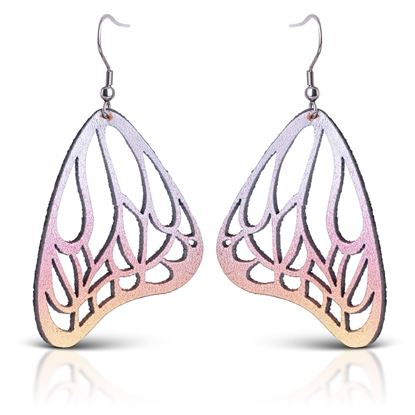 Picture of Butterfly Leather Earrings - Multi Pink Shimmer
