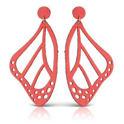 Picture of Butterfly Leather Earrings - Poppy
