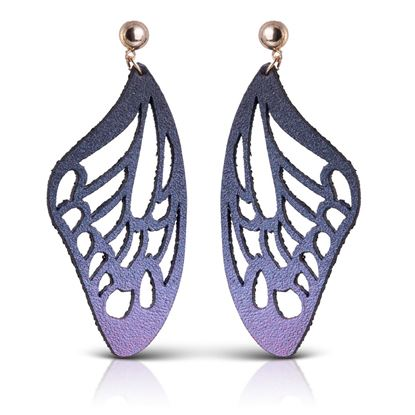 Picture of Butterfly Leather Earrings - Smoke Shimmer