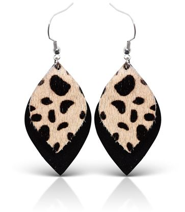 Picture of Layered Leather Teardrop Earring - Black