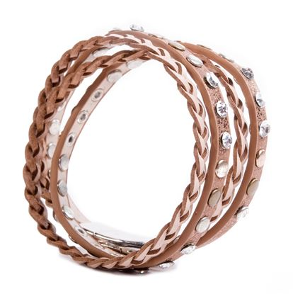 Picture of Leather Braid and Stud Wrap Bracelet - Brown