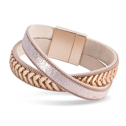 Picture of Leather Cuff Bracelet - Rosegold