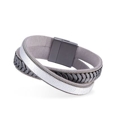Picture of Leather Cuff Bracelet - Silver