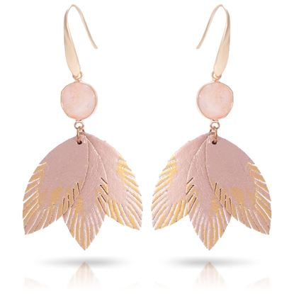 Picture of Leather Feather Earrings with Crystal - Champagne