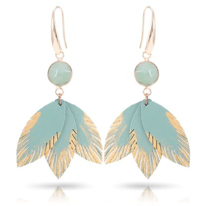 Picture of Leather Feather Earrings with Crystal - Turquoise