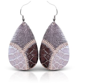 Picture of Leather Patchwork Teardrop Earring - Cloudy Bronze