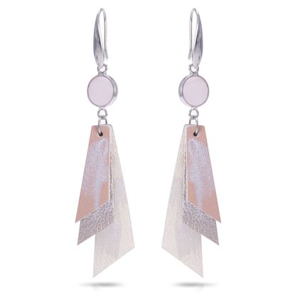 Picture of Leather Strips Earrings with Crystal - Blush