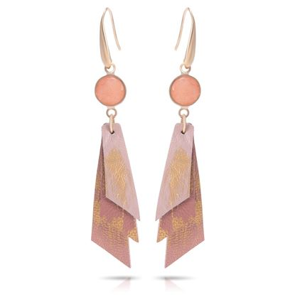 Picture of Leather Strips Earrings with Crystal - Canyon