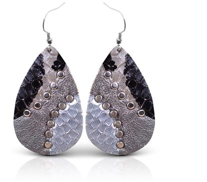 Picture of Leather Studded Teardrop Earring - Denim Blue