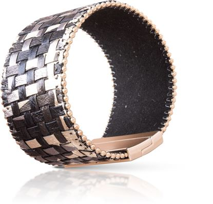 Picture of Woven Leather Cuff Bracelet - Black