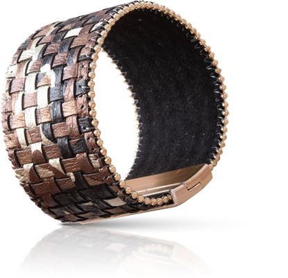 Picture of Woven Leather Cuff Bracelet - Brown