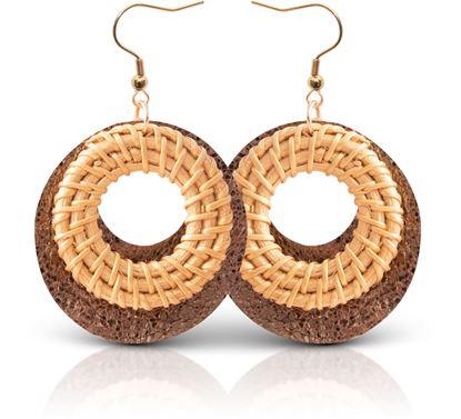 Picture of Woven Leather Open Hoop Earring - Beige