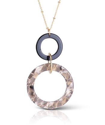 "Picture of 32"" Rings Necklace - Pearled Taupe"
