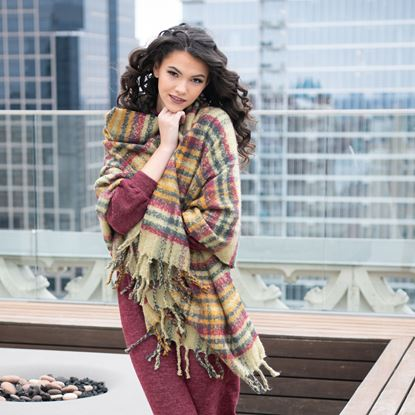 Picture of Super-Soft Plaid Scarf Wrap - Apple Butter