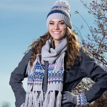Picture of Fair Isle Classic Pom Hat - Navy/Rosegold