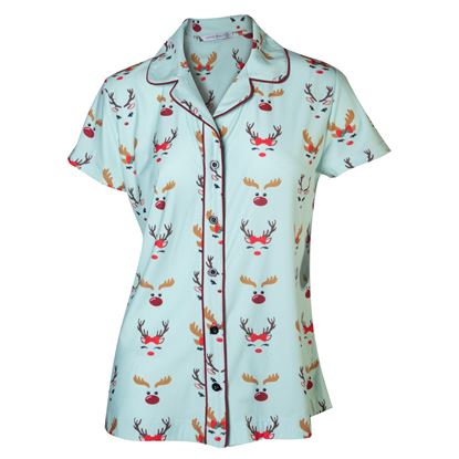 Picture of Notched Collar Pajama Top - Oh Deer