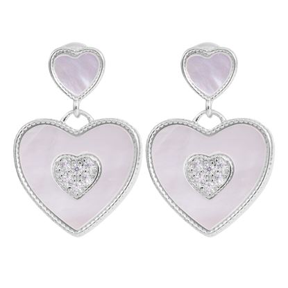 Picture of Double Heart Drop Earrings - Silver