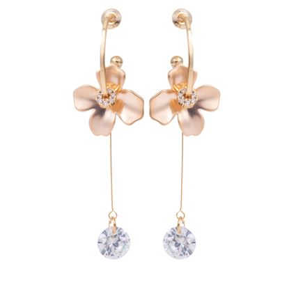 Picture of Flower with Drop CZ Earrings - Rosegold