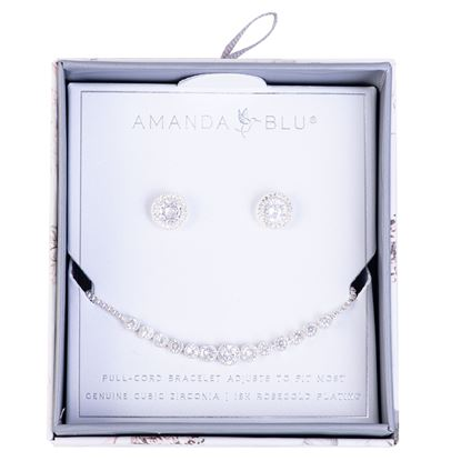 Picture of Boxed CZ Earring & Adjustable Bracelet Set - Silver Halo/Graduated