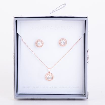 Picture of Boxed CZ Earring & Necklace Set - Rosegold Halo