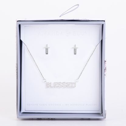Picture of Boxed CZ Earring & Necklace Set - Silver Cross Hug/Blessed