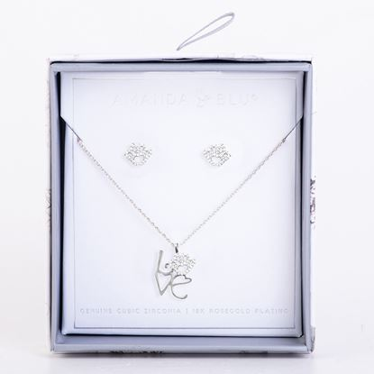 Picture of Boxed CZ Earring & Necklace Set - Paw/Love Pet-Silver